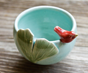 Little Red Bird with Ginkgo Leaf on a Tiny Aqua Bowl by tashamck