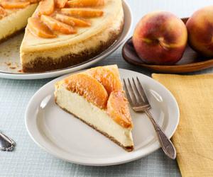 cheesecake, peach, and cake image