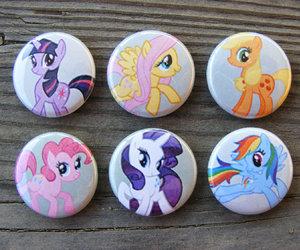 buttons, pins, and my little pony image