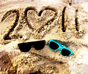 sand, glasses, and summer image