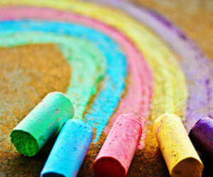rainbow, chalk, and colorful image