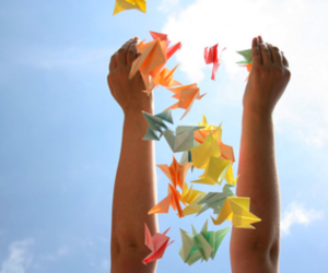 origami, sky, and colors image