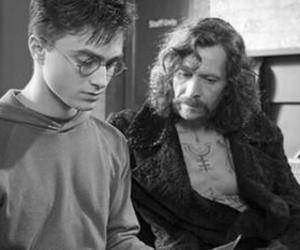 harry potter, sirius black, and black and white image