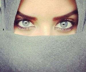 eyes, hijab, and blue image
