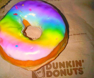 donuts, rainbow, and dunkin donuts image