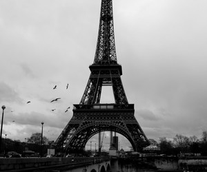 paris, tour eifel, and black and gray image