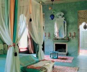 bedroom, decor, and blue image