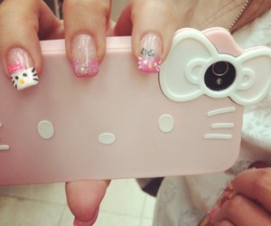 hello kitty, mobile phone, and nails image