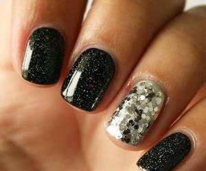 glitter nails, gelish, and silver dots image