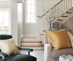 chair, living room, and stairs image