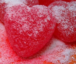 red, candy, and heart image