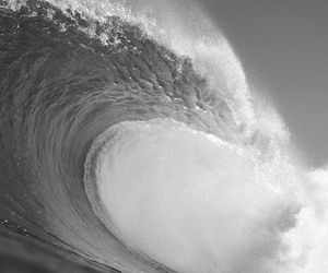 black and white, landscape, and waves image