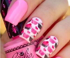 cupcake, nails, and pink image