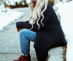 boots, curls, and cardigan image