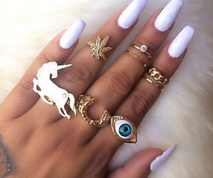 nails, hypster, and ring image