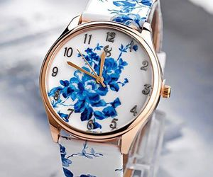 clock, watch, and blue image