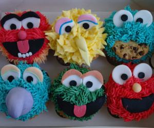 Big bird, blue, and cupcake image