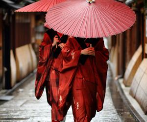 japan, red, and kimono image
