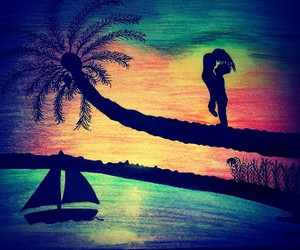 color, sea, and draw image