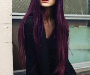 beauty, long hair, and purple image