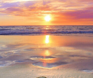 sunset, beach, and hearts image