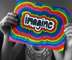 imagine, rainbow, and art image