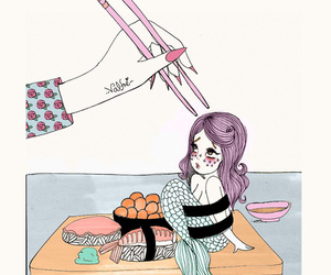 mermaid, sushi, and valfre image
