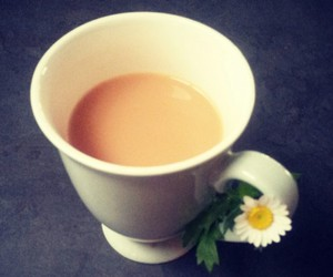 cup, daisy, and tea image