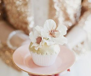 cupcake, flowers, and pastel image
