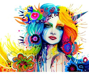 art, girl, and colourful image