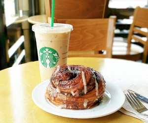cinnamon roll, food, and frappuccino image