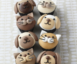 dog, cat, and cupcake image