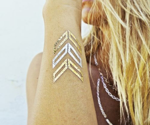 girl, gold, and tattoo image