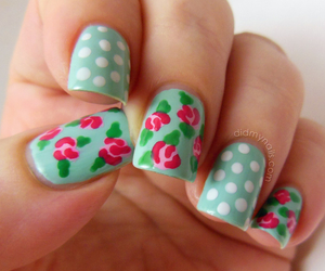 nails, flowers, and dots image