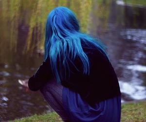 blue hair, hair, and blue image