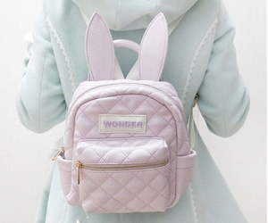 backpack, kawaii, and bunny image