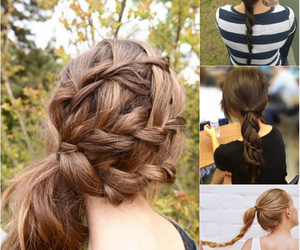 braid, hair, and hair style image