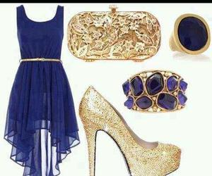 blue dress, gold heels, and gold accesories image