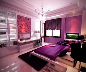 room, purple, and bedroom image