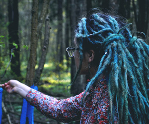 dreadlocks, dreads, and blue dreads image
