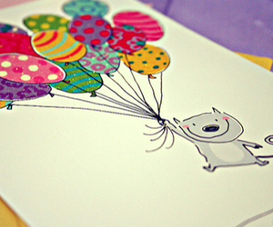 balloons, cat, and drawing image