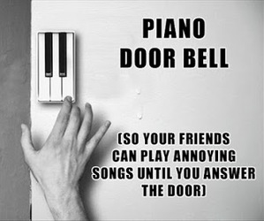 funny, piano, and door bell image