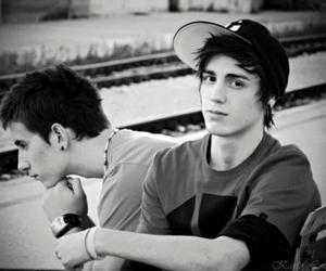 black and white, cap, and boys image