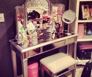makeup, mirror, and pink image