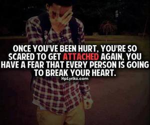 quote, hurt, and scared image