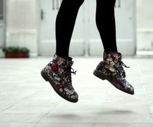 shoes, flowers, and doc martens image
