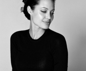 Angelina Jolie, black and white, and angelina image