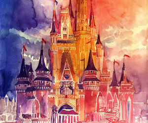 castle, disney, and painting image