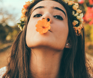 flowers, girl, and pretty image