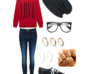 outfit, jeans, and glasses image